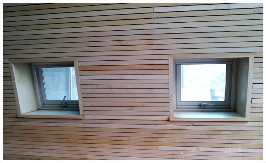 벽면에 나 있는 창문의 모습
